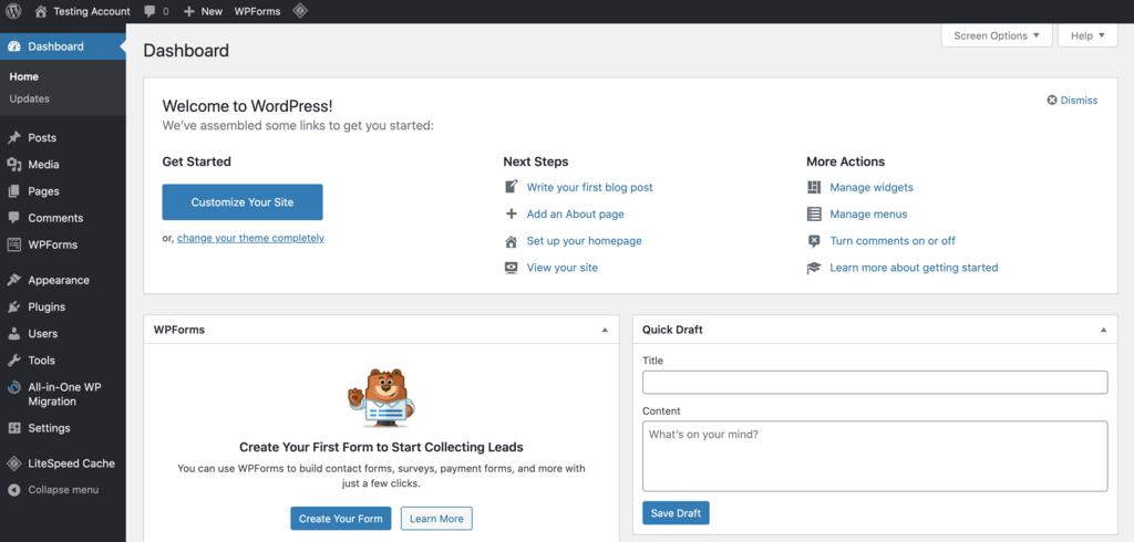 đăng nhập WordPress admin dashboard