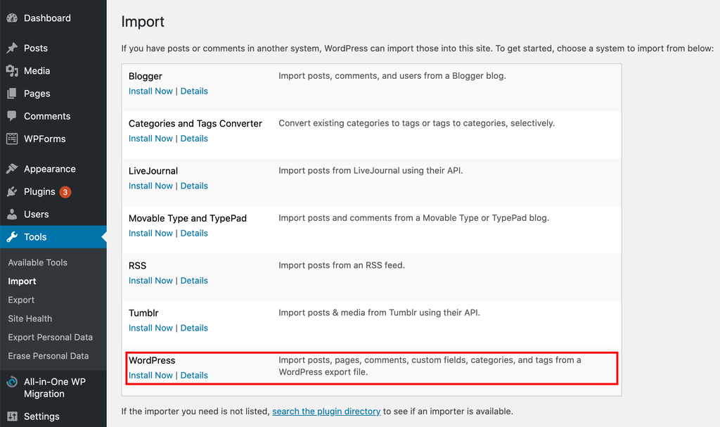 Installing the WordPress Importer tool.