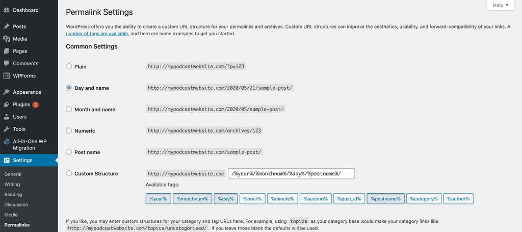 Changing the permalink settings on WordPress.