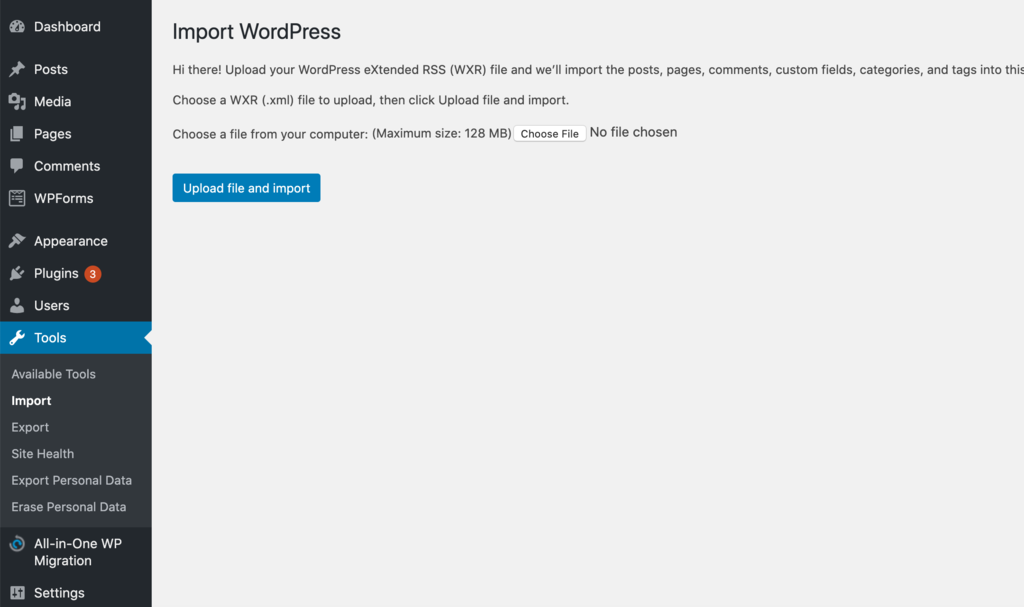 Importing Squarespace files to your WordPress website.