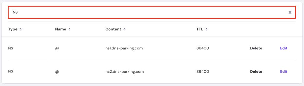 hPanel DNS Editor search bar.