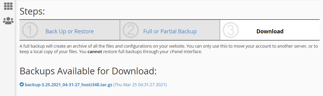 Backups available for download