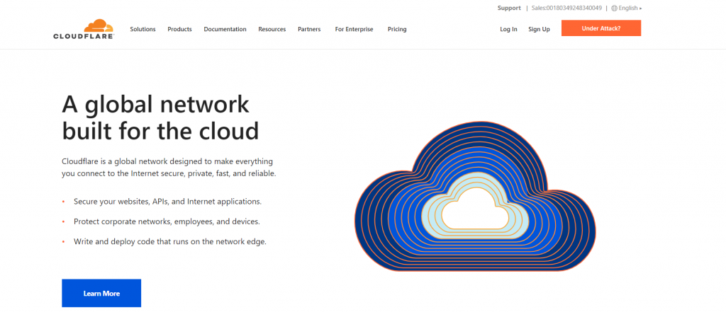 cloudflare homepage