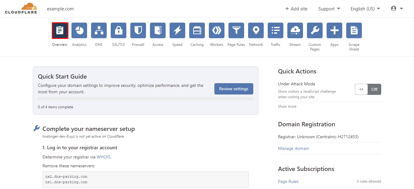 cloudflare overview tab