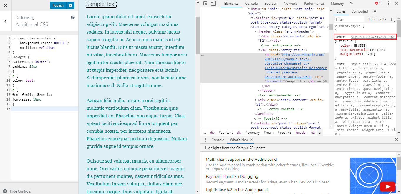 Editing WordPress Child Theme's H1 color.