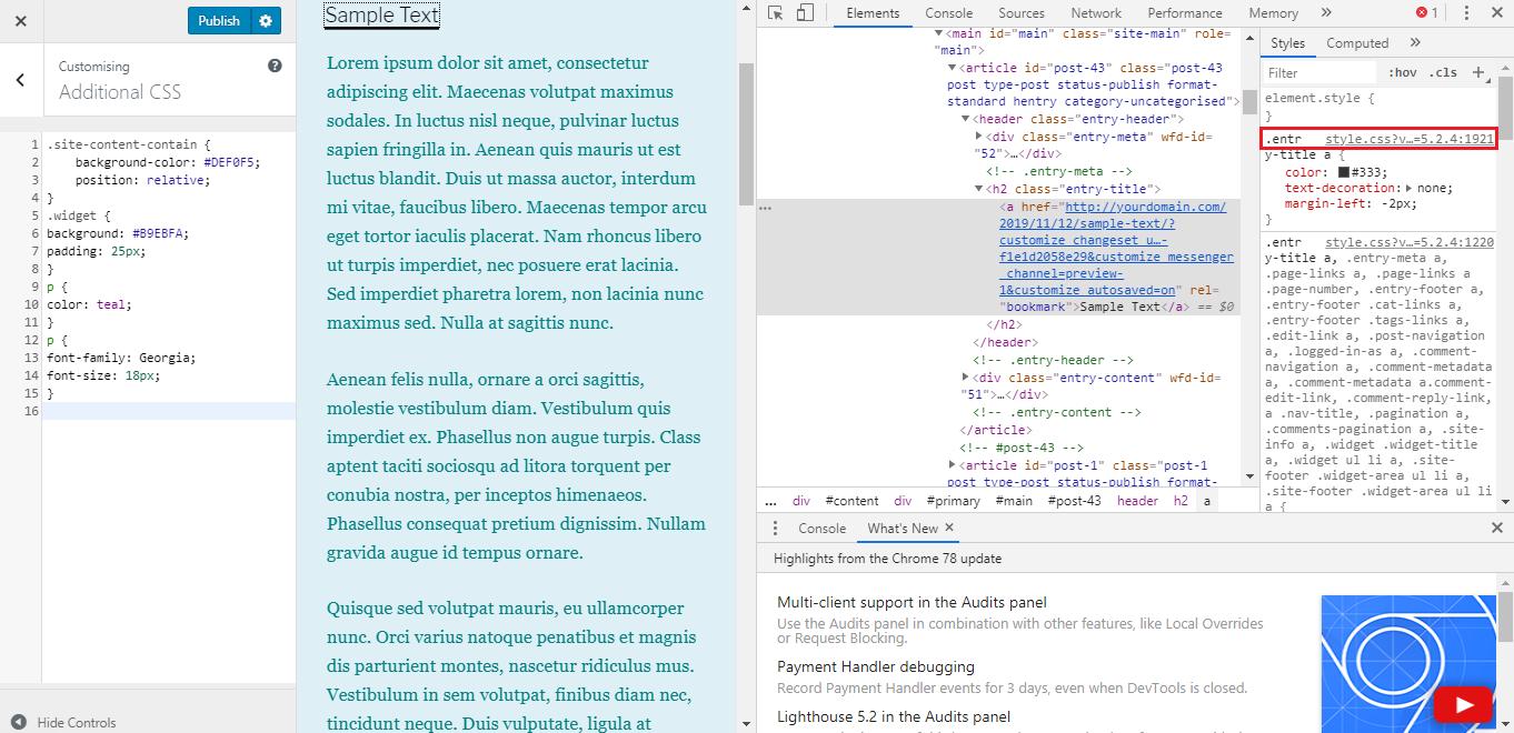 Editing WordPress Child Theme's H1 color.
