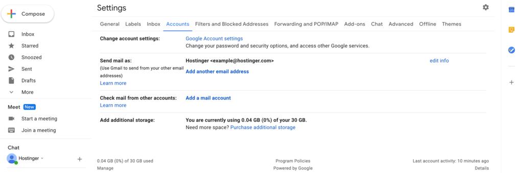 Accounts tab under Gmail settings