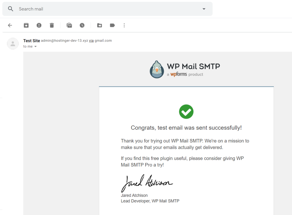 Test email sent successfully message from WP Mail SMTP