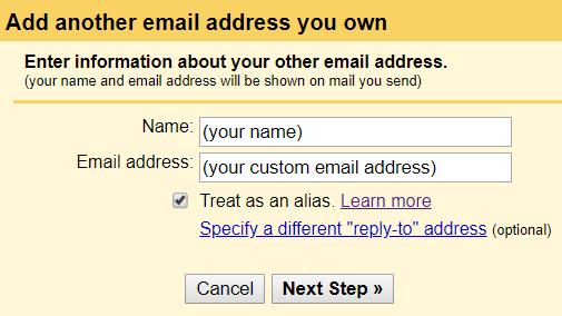 Google SMTP's email registration pop-up