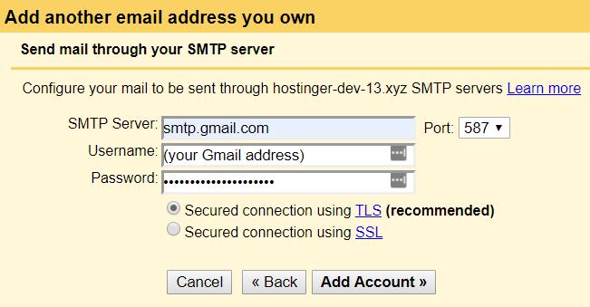 Configuring Gmail SMTP server