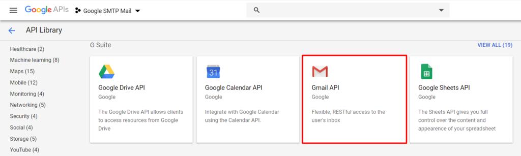 GMail API on Google APIs dashboard