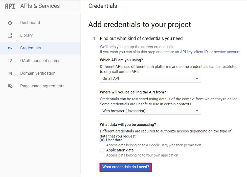 Adding credentials on Google API