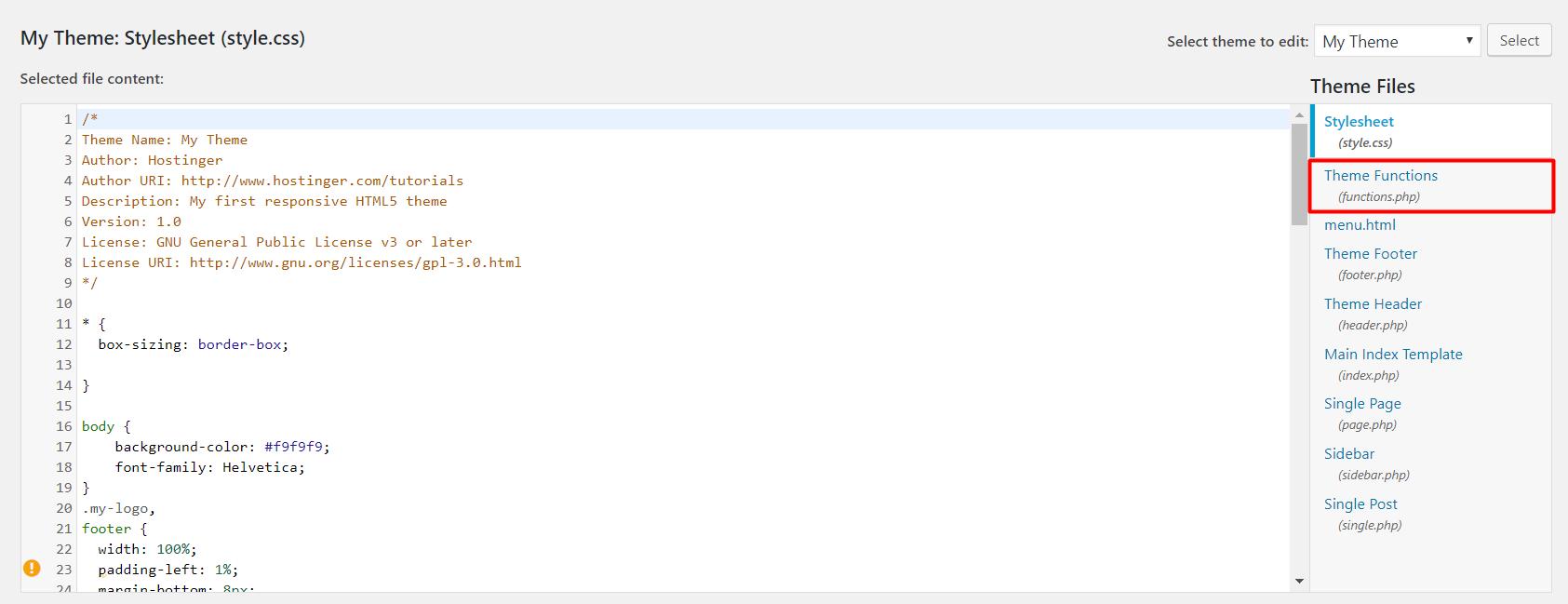 Theme functions in WordPress's theme editor