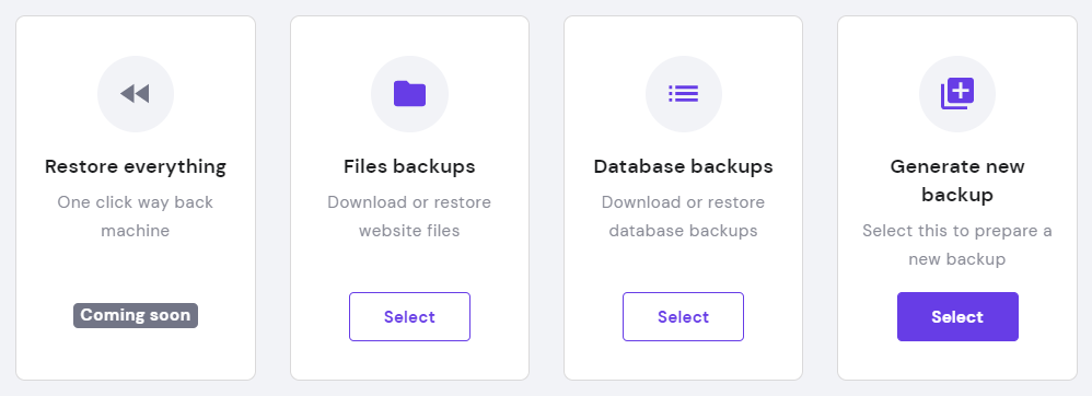Generating Backups section on hPanel