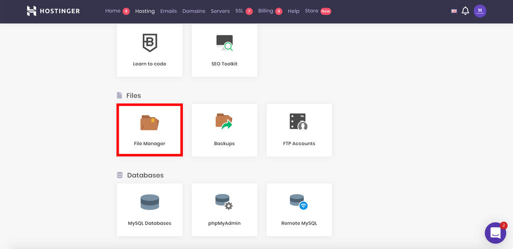 This image shows you how to find File Manager on hPanel