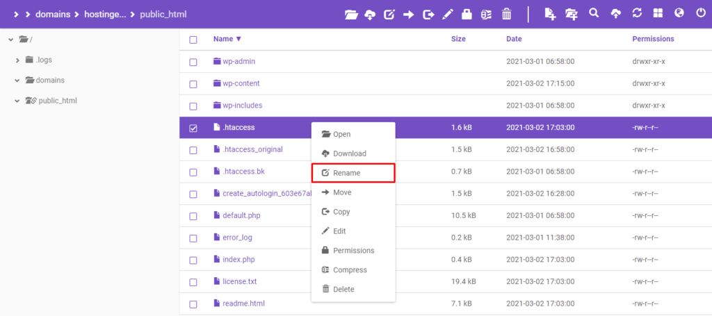 hpanel file manager rename