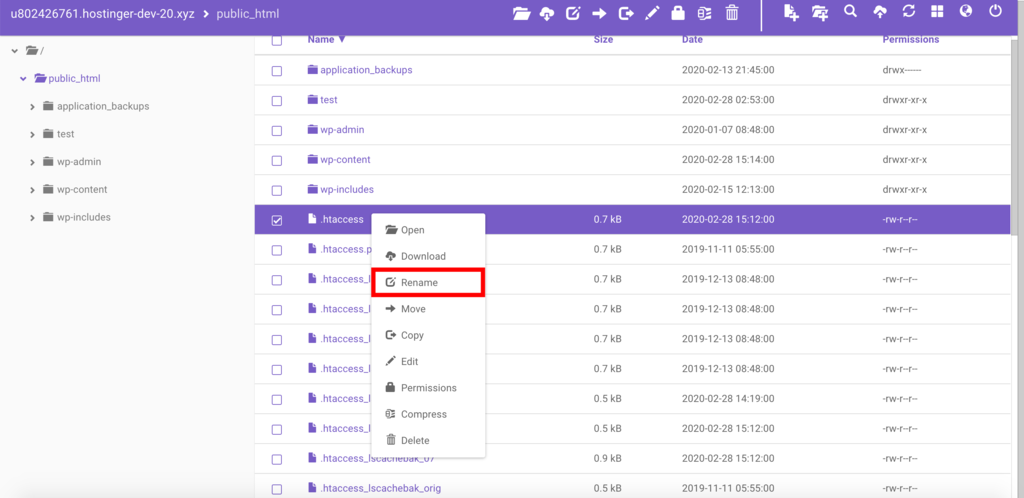 This image shows you how to disable .htaccess file through File Manager