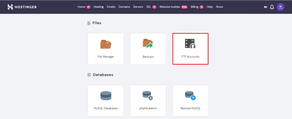 Screenshot demonstrating where FTP account button is located on hPanel