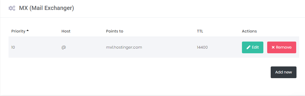 How to find the MX record in hPanel.