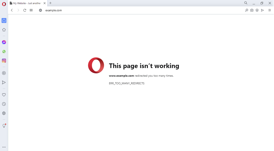 Opera error message for err_too_many_redirects.