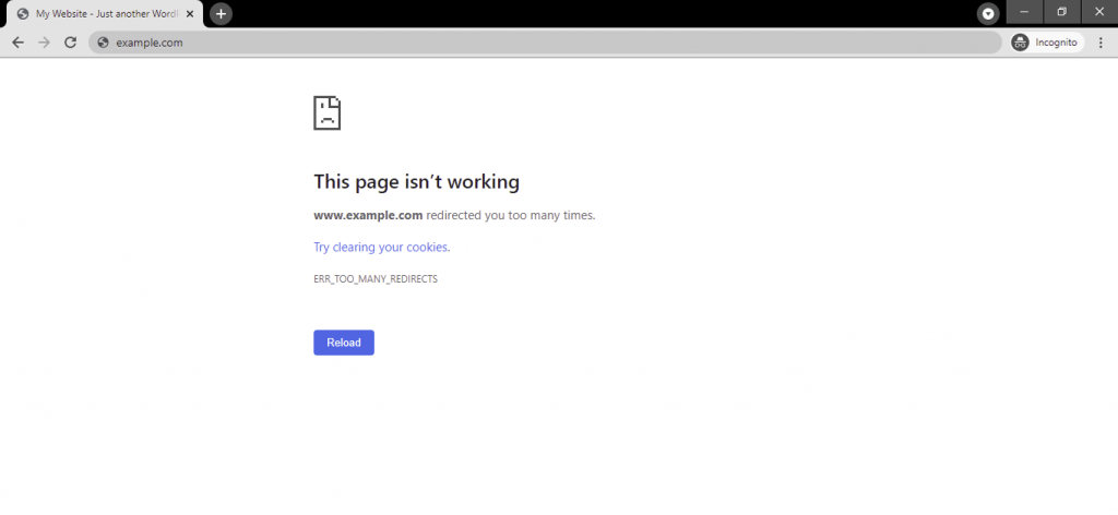 Google Chrome err_too_many_redirects error message.