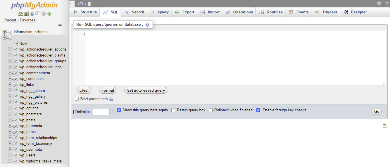 phpMyAdmin SQL tab