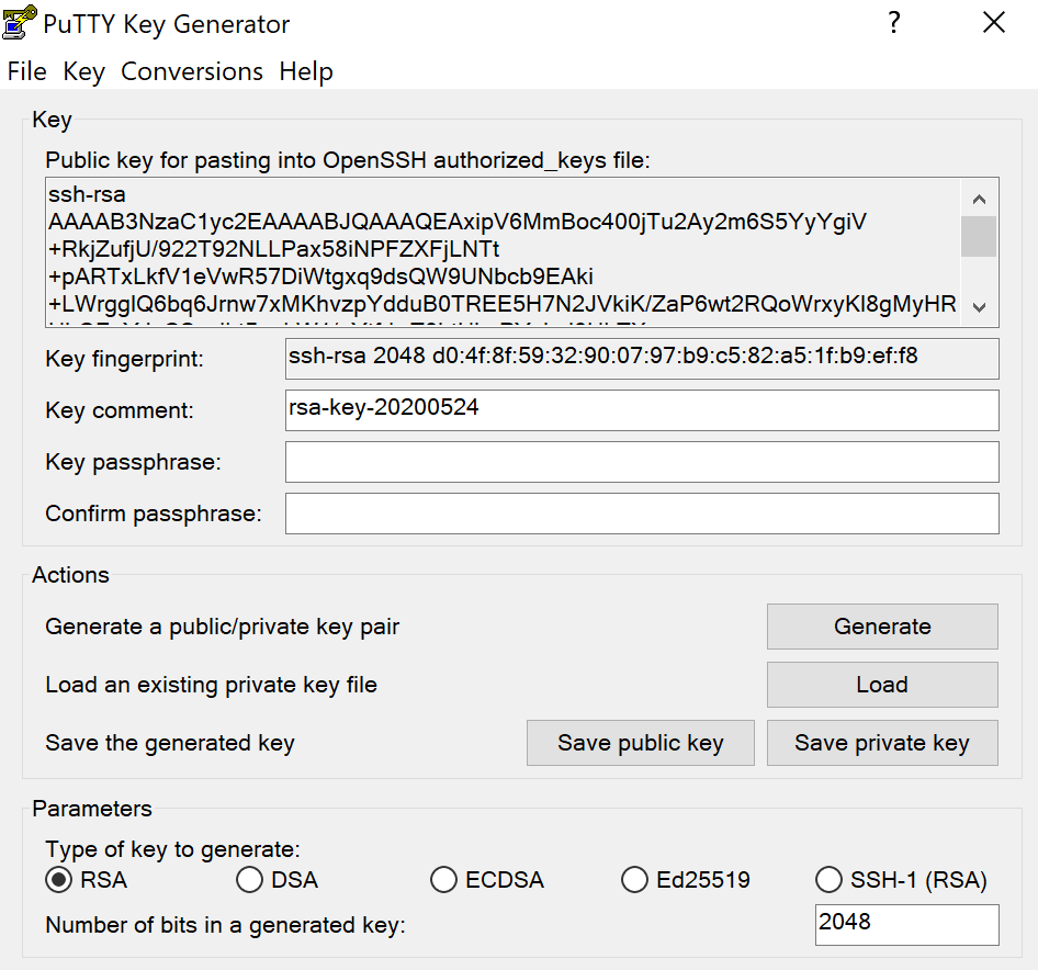 PuttyGen public and private key