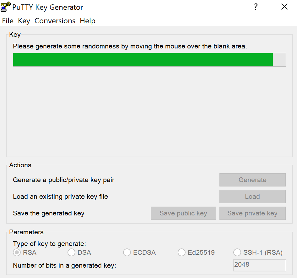 puttygen key generator progress bar