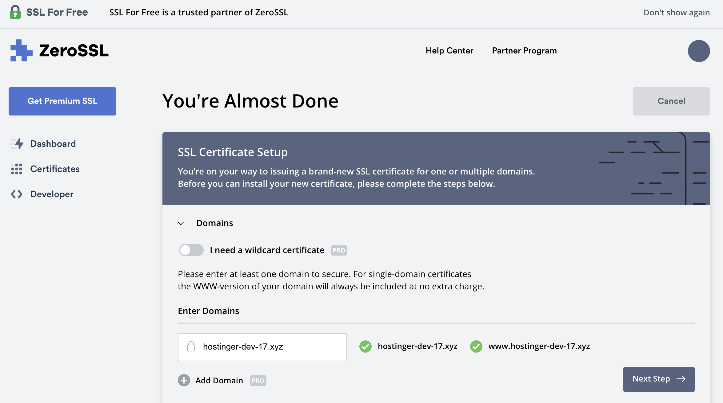 First step in registering for a free ssl certificate