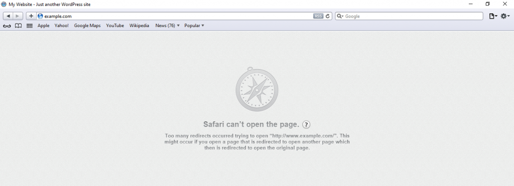Safari error message for err_too_many_redirects.
