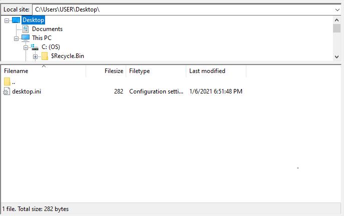 Screenshot of desktop folder