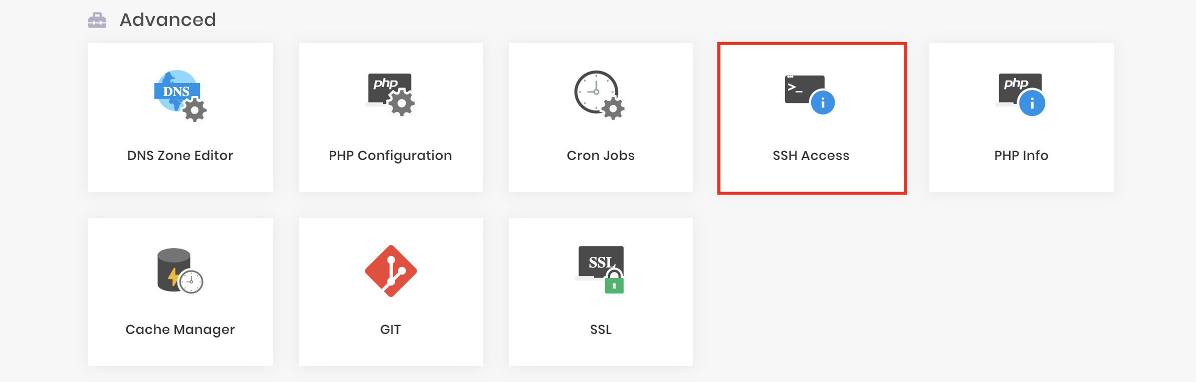 The SSH Access section of hPanel under advanced settings