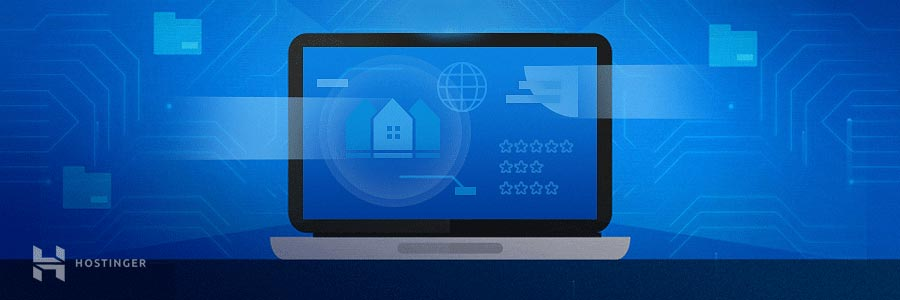 A graphic illustration of a laptop screen showing a reliable web hosting site