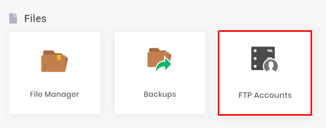 FTP accounts under the files section in hPanel