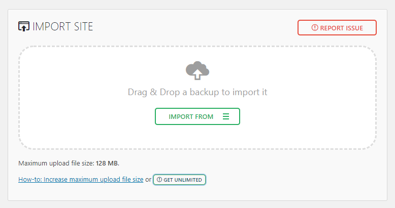 Import site tool in All in One WP Migration plugin
