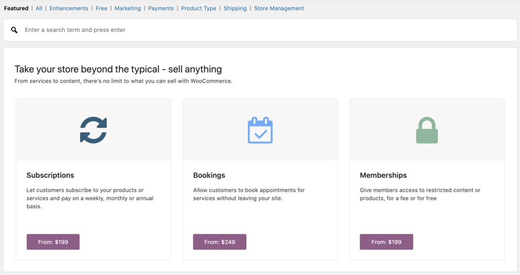 Managing WooCommerce extensions