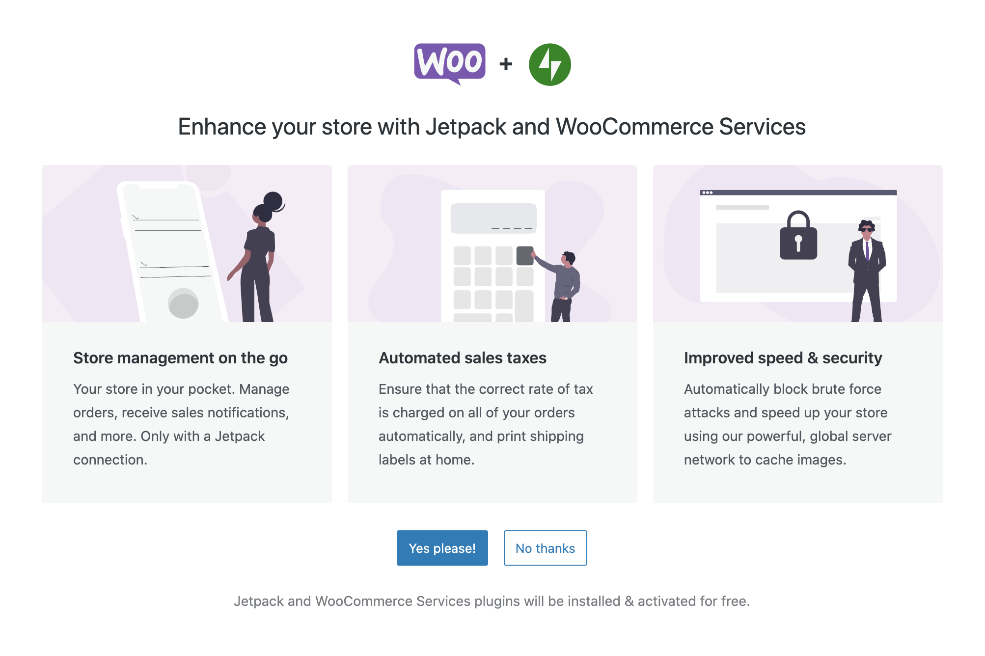 woocommerce and jetpack set up