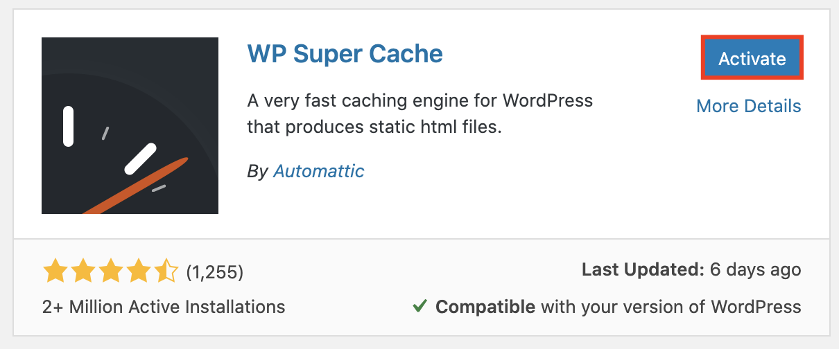 activating the wp super cache plugin