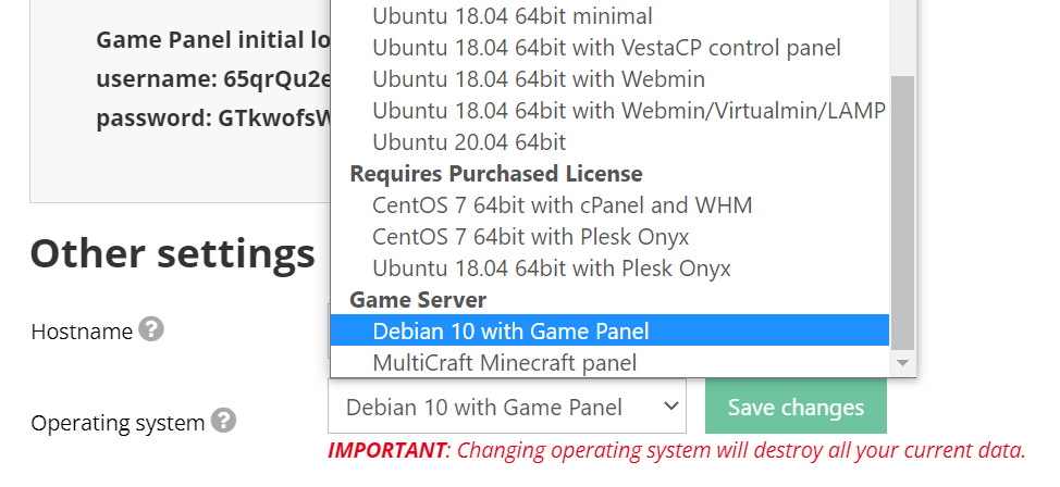 Selecting Debian 10 with Game Panel option in hPanel.