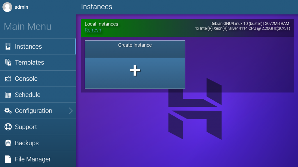 Creating a new instance in Game Panel.