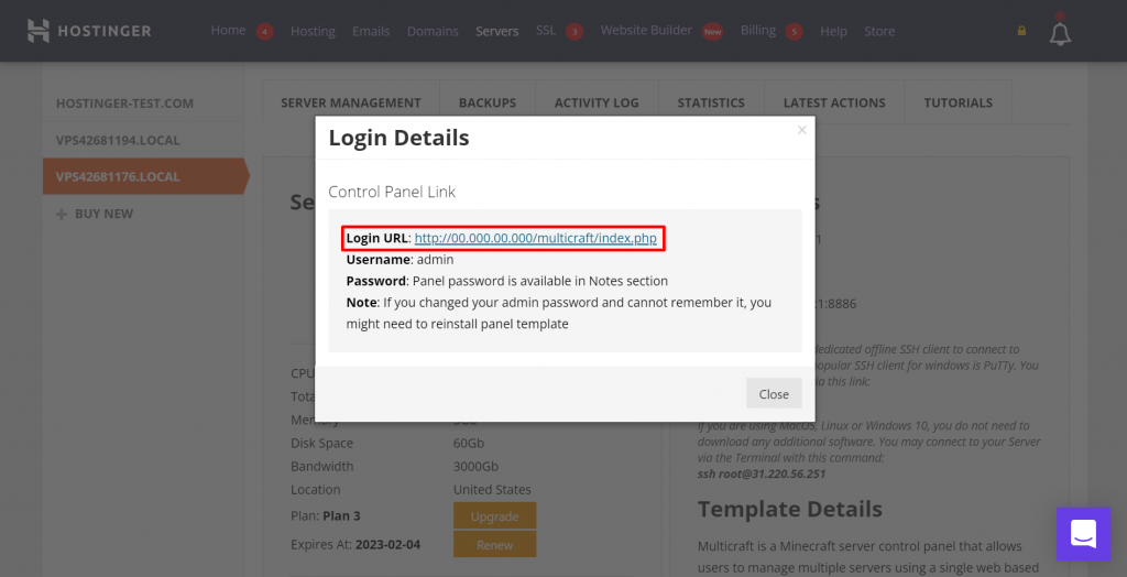 Previewing Game Panel's login details in hPanel.