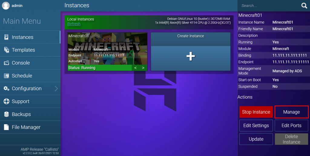 Managing a newly created Minecraft instance in Game Panel.