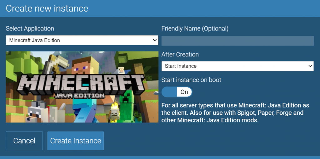 Creating a new Minecraft instance in Game Panel.