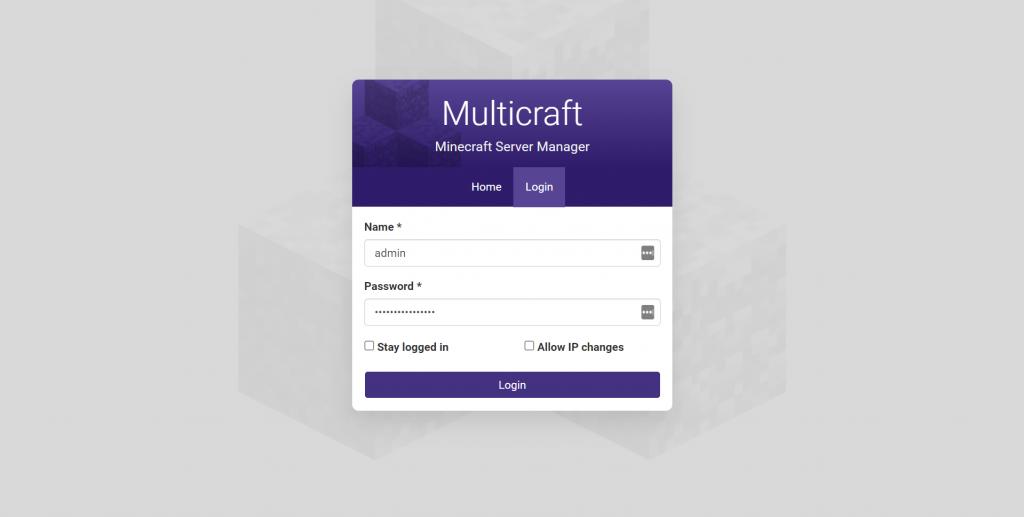 MultiCraft login screen.