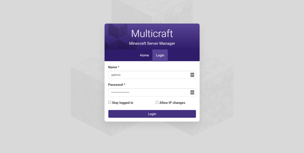 Starting the newly created MultiCraft server.