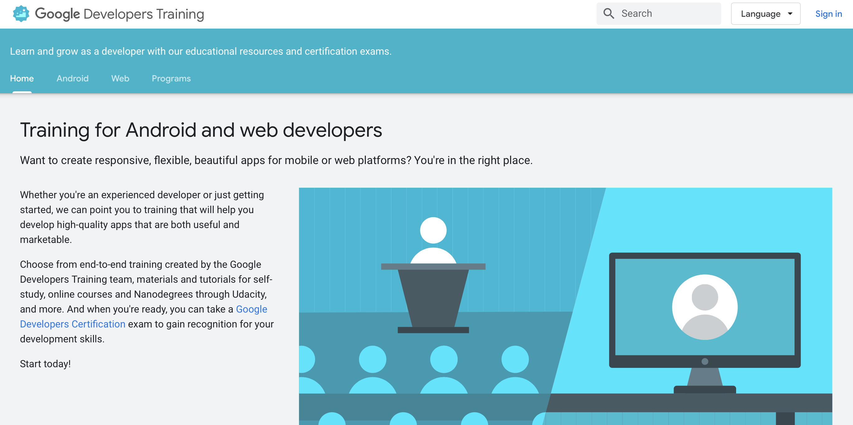 Google Developers Training free online coding programs