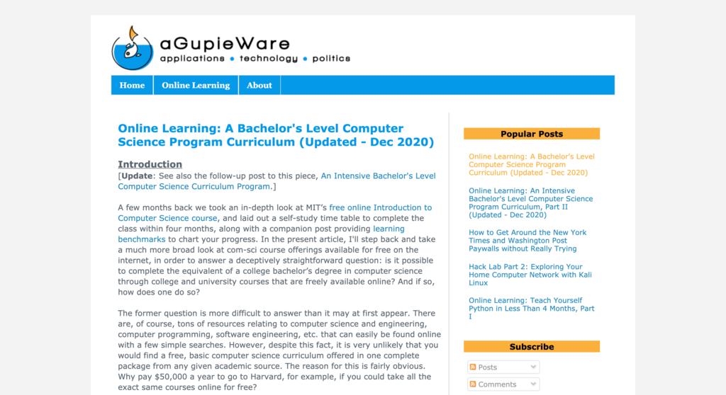 aGupieWare homepage.