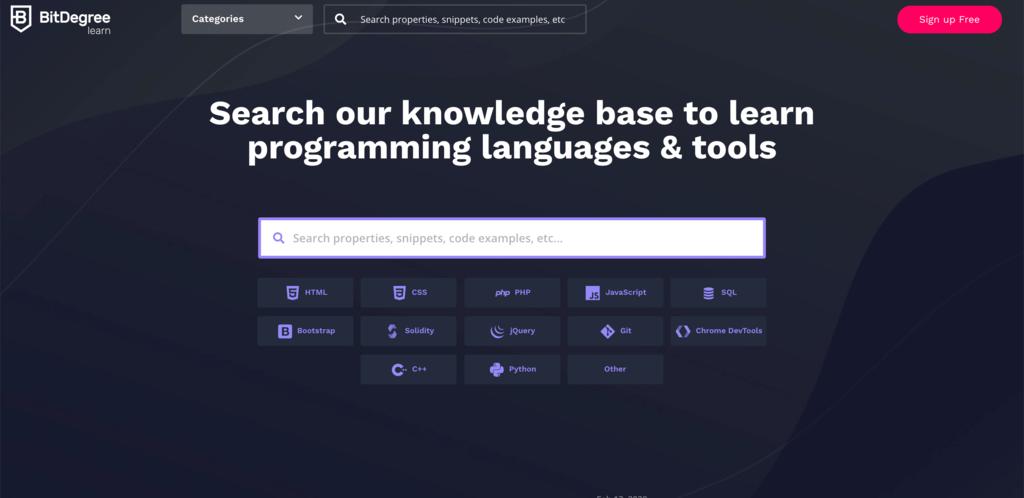 BitDegree homepage.