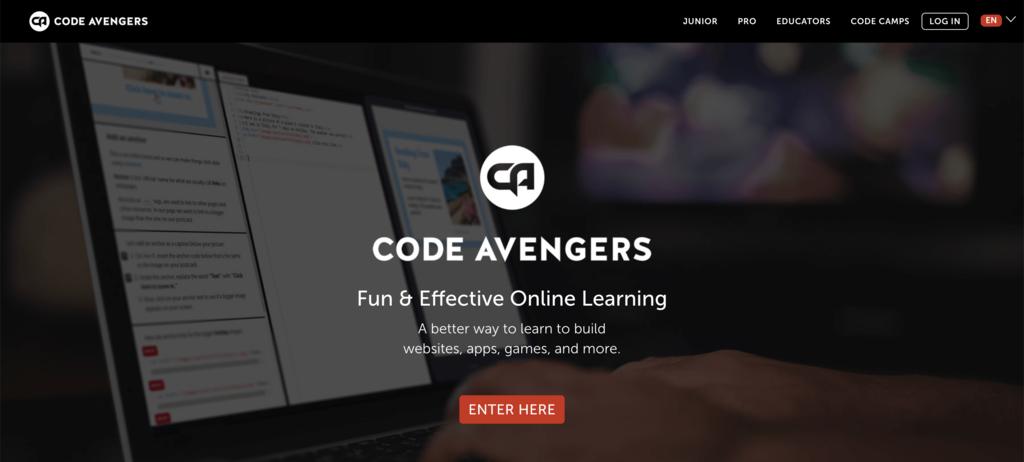 Code Avengers homepage.