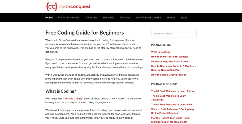 Code Conquest homepage.